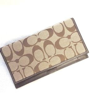 Coach Signature check-book/bill holder EUC